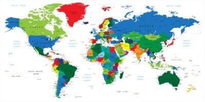 Fototapete Farbenfrohe Weltkarte auf weißem Hintergrund